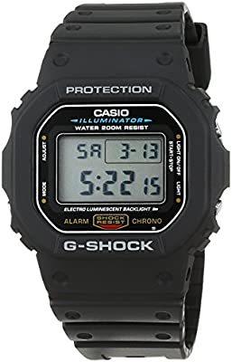 CASIO G-Shock DW-5600E-1VER - Reloj de hombre de cuarzo, correa de resina (con cronómetro, alarma)