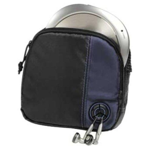 Hama CD-Player-Tasche für Discman und 3 CDs (mit Kabelausgang und Gürtelschlaufe) schwarz/blau