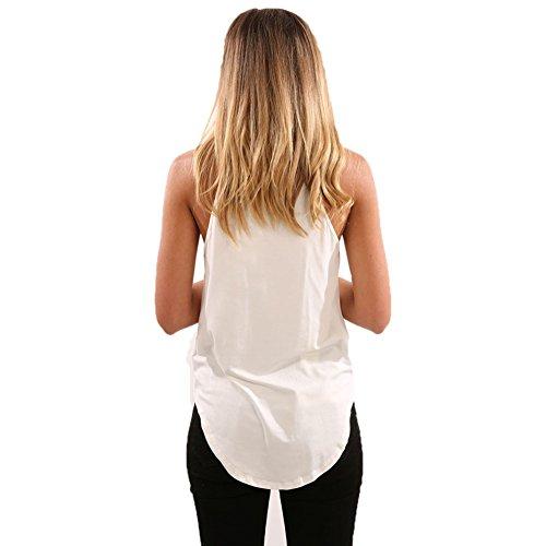 Etosell Femme sans Manches Col Haut Casual T-Shirt Blanc 01