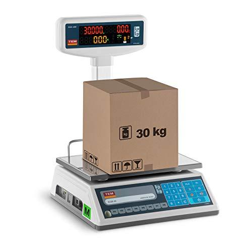 TEM Preisrechenwaage Marktwaage mit Hochanzeige digitale Waage TEL030B1D-V2-B1 (kalibriert, geeicht, 15 kg/30 kg, 5g/10 g, LED-Display, Akku bis 40 h Betrieb, versch. Funktionen)