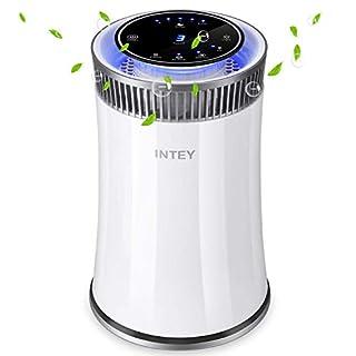 INTEY Luftreiniger Wohnung, HEPA-Filter Aktivkohle Doppelfiltration, Niedrigem Verbrauch Negativen Ionisator mit Desinfektion UV-Lampe, Effektiv Absorbieren 99,98% Formaldehyd, Reinigen die Luft