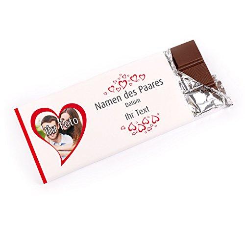 private schoki Gastgeschenk zur Hochzeit mit Foto - Schokolade mit persönlicher Banderole Hochzeit Schokolade