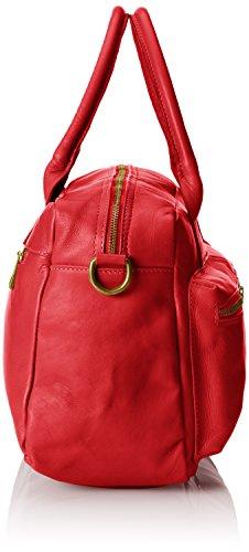 CTM-Handtasche und Schulter zu Frau, 36x26x15cm, echtes Leder 100% Made in Italy Rot (Rosso)
