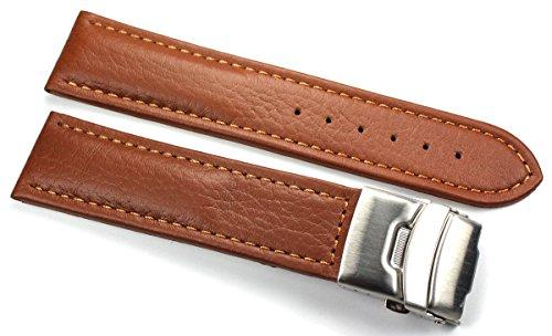 Sulla 20mm Genuine Leder Uhrenarmband mit Edelstahl Faltschließe hell Braun (Faltschließe Uhrenarmband 20mm)