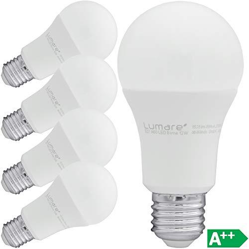 Lumare LED Lampe | 5er E27 12W | Ersetzt 100w Watt Glühbirne | 1535 Lumen | A60 Leuchtmittel | 2700 Kelvin warmweiß Fassung
