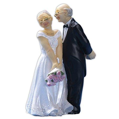 Cake Company Hochzeit-Figur altes Braut-Paar | ca. 11,5 cm mit Blumenstrauß & Geschenk aus Polyresin | nicht essbare Kuchen-Deko für die Gold-Hochzeit | Torten-Figur & Tortenaufsatz für die Hochzeit
