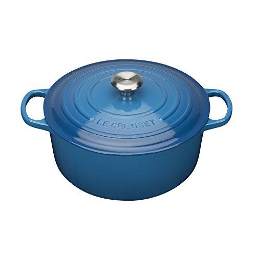 Le Creuset Signature Cast Iron Round Casserole, Marseille Blue, 18 cm