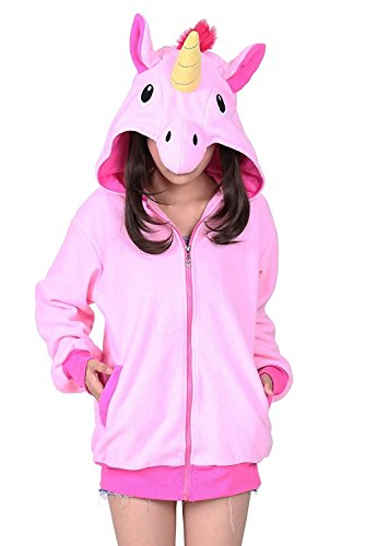 Minetom Damen Mädchen Einhorn Karikatur Tier Kapuzenpullover Kapuzenjacke Kostüm Für Halloween Karneval Fasching Hoodies Sweatshirt Tops...