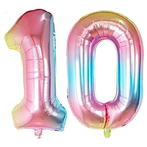 DIWULI, XXL Zahlen-Ballons, Zahl 10, Schillernde Regenbogen Luftballons, Zahlenluftballons, Folien-Luftballons Nummer Jahre, Folien-Ballons 10. Geburtstag, Hochzeit, Party, Dekoration, Geschenk-Deko