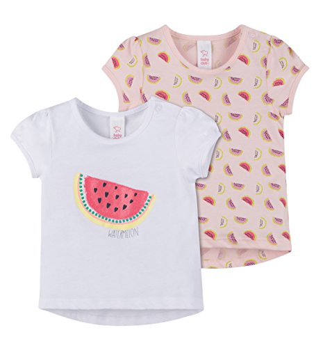 C&A Baby Mädchen Sommershirt Urlaub Strand kurzarm 2-er Pack Multipack Wassermelone weiß rosa Größe 92