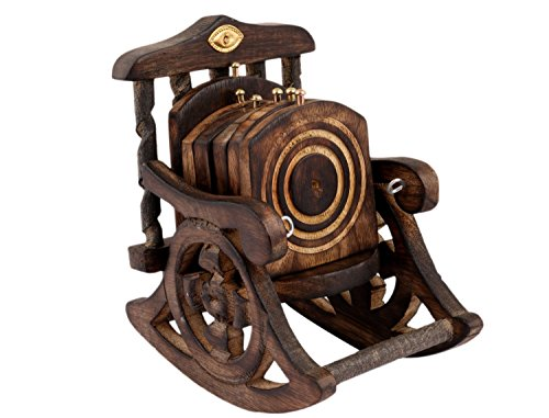 CRAFTGASMICBeautiful Miniature Rocking Chair Design Wooden Tea Coffee Coaster Set
