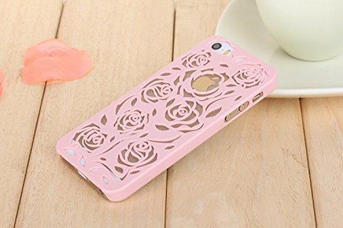 Coque iPhone 5/5s , iNenk® Hot Summer Slim couleur modèle creux téléphone Rose rétro Shell manchon protecteur Etui PC couverture mode marée-violet Rose