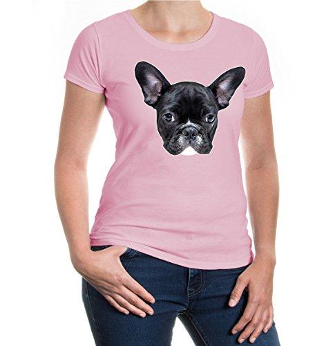 Girlie T-Shirt French-bulldog-Face-XL-Lightpink-z-direct (Rosa Damen Bulldog T-shirt)