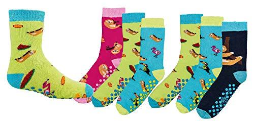 TippTexx 24 6 Paar Kinder Thermo Stoppersocken, ABS Socken für Mädchen und Jungen, Ökotex Standard, Strümpfe mit Noppensohle, viele Muster (Faultier, 31-34) - Winter-sport-muster-socken