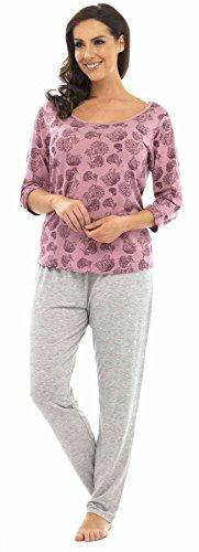 Ensemble de Pyjama T-Shirt et Pantalon Motif Floral Chrysanthème Femme Rose/Gris