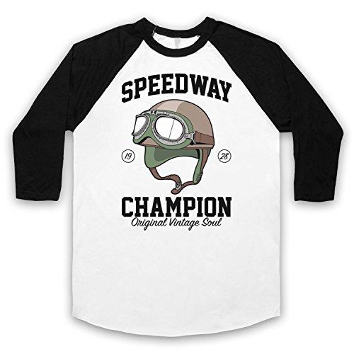 Speedway Champion Original Vintage Soul 3/4 Hulse Retro Baseball T-Shirt Weis & Schwarz