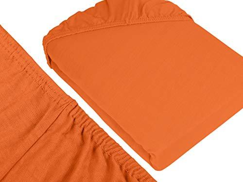 npluseins klassisches Jersey Spannbetttuch - erhältlich in 34 modernen Farben und 6 verschiedenen Größen - 100% Baumwolle, 90-100 x 200 cm, terrakotta - 3