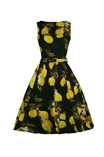 iLover 50s Vintage Rockabilly Blumenkleid Hepburn Stil Partykleid Cocktailkleid 50er Jahr Abendkleid Schwarz M (1940 Tanz Kostüme)