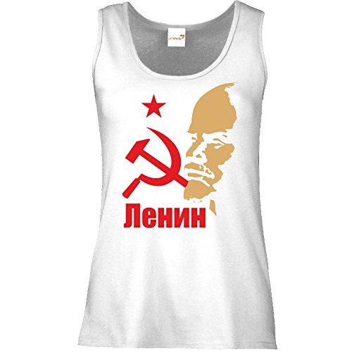 getshirts - RAHMENLOS® Geschenke - Tank Top Damen - Lenin Portrait Weiß