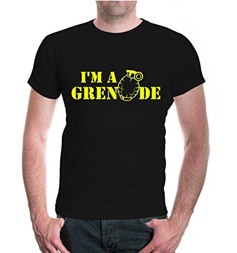 buXsbaum® T-Shirt I m a grenade Black-Neonyellow