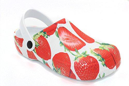 Damen Slobby EVA Clogs _ Hausschuhe Gartenclogs _ Beruf Pantoletten _ Freizeit Badeschuhe _ Komfort Fersen Riemen _ Slipper Sandalen Schuhe _ BA590520 (40, Erdbeer) (Damen-komfort-schuhe Ferse)