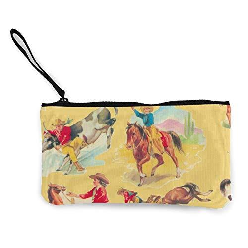 Cowboy Cowgirl Gold Multifunktionale tragbare Leinwand Geldbörse Handytasche Kosmetiktasche, Wristlet-Tasche mit Reißverschluss