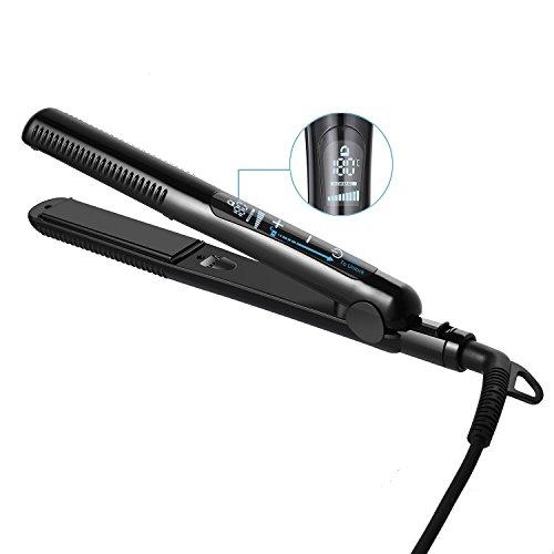 ACEVIVI HS74 Haarglätter Touchscreen-Steuerung Glätteisen mit Tourmaline-Keramikbeschichtung Ionenfunktion und Infrarot-Technologie, Schwarz (Steuerung Kurzen Glatte)