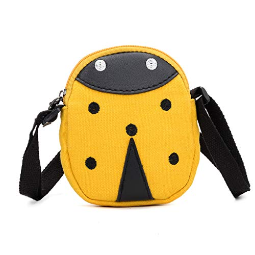 Mitlfuny handbemalte Ledertasche, Schultertasche, Geschenk, Handgefertigte Tasche,Kinder süße Seven Spot Marienkäfer Tasche Schulter Messenger Bag Münze für Kind
