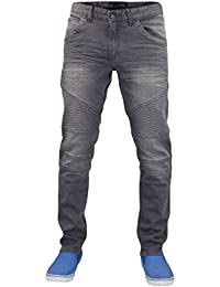 New Mens Designer Crosshatch Biker Style Skinny Fit Stretch Jeans Cotton Denim
