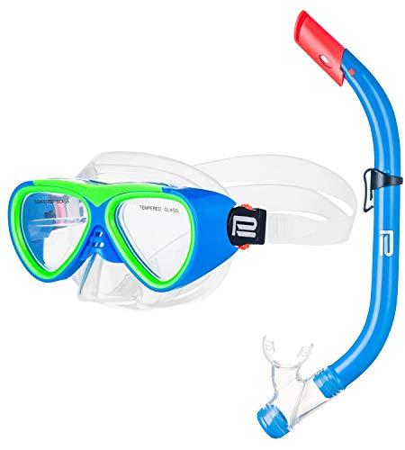 Prosske Schnorchelset CATFISCH Schnorchelmaske Taucherbrille Anti-Fog aus Gehärtetem Glas und Dry Top Schnorchel Kinder und Jugendliche - blau-grün