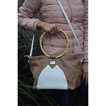 beige weiße Handtasche Lederhandtasche Shopper