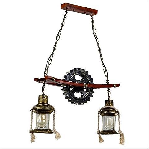 GZEDG restaurant bar industriel rétro processus créatif chaînes engrenage double lampe lustre 65 * 94