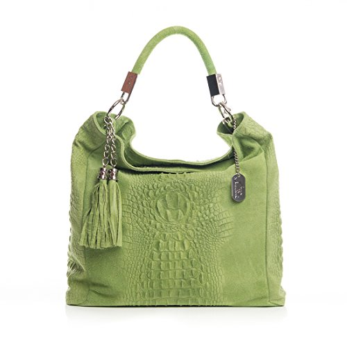 Anna Shoulder Bag body 38x14x36 Tote in Leather Handbag Made Shopper Italy Grün Morellini cm cross Bag rUq1SxPwr6