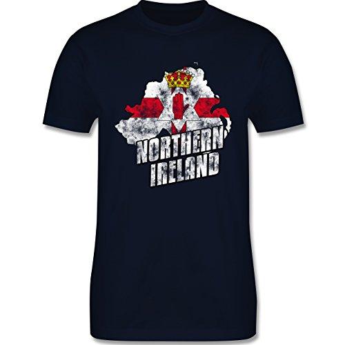 EM 2016 - Frankreich - Northern Ireland Umriss Vintage - Herren Premium T-Shirt Navy Blau