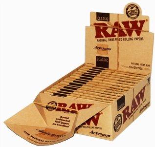 Raw Classic King Size Slim, Serie Artesano, natürlich nicht raffiniertes (Rolling papers-carta Spitzen, 12Blöcke von Trendz