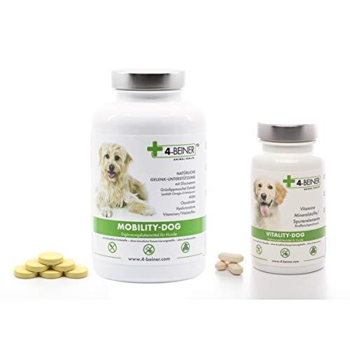 4-Beiner Mobility-Dog + Vitality-Dog, Unterstützung Gelenke & Vitamine für ältere Hunde mit Glucosamin, MSM, Teufelskralle, Grünlipp Muschel, Weihrauch, 120 Gelenk Tab. & 100 Vitamin Tabletten Hund -