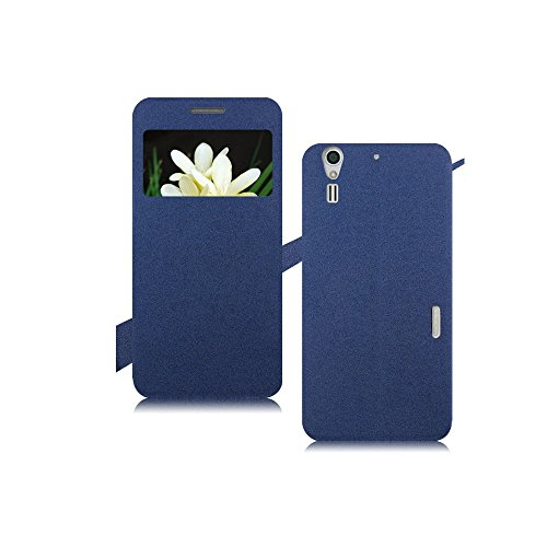 Heartly GoldSand Sparkle Luxury PU Leather Window Flip Stand Back Case Cover For ZTE Grand S2 II S291 S251 - Power Blue