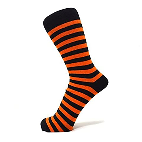 Orange And Black Thin Striped Ankle Socks (Size: 6-11)
