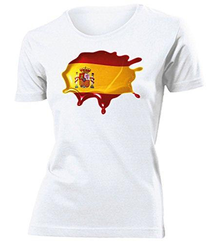 Spanien Fleck 6040 Fussball Fanshirt Fan Shirt Tshirt Fanartikel Artikel Frauen Damen T-Shirts Weiss M