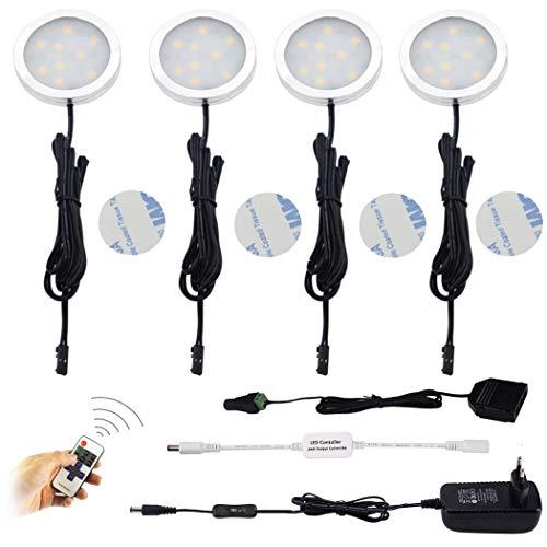 Moderne Unter Kabinett-beleuchtung (AIBOO LED Schrankleuchten 4er Komplettset, Unter Kabinett Beleuchtung Mit, Küchenlampen Vitrinenbeleuchtung Warmweiß 2700K, LED Unterbauleuchte Set Inklusiv alle Zubehör)