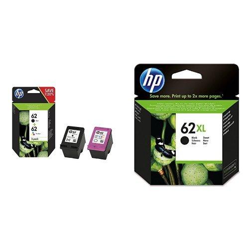 HP 62 Multipack Original Druckerpatronen (1x Schwarz, 1x Farbe) und zusätzliche HP 62XL Schwarz...