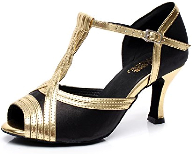JSHOE Sandalias con Tacón Acanalado Super Satin con Brillantes Zapatillas De Baile,Gold-heeled7.5cm-UK4/EU35/Our36