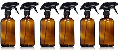 Leer Bernstein Glas Spray Flasche-Große 16Oz nachfüllbar Behälter für ätherische Öle, Reinigung Produkte, oder Aromatherapie-Schwarz Trigger Sprayer w/Mist und Stream Einstellungen-6Pack -