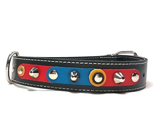 Superpipapo Handgemacht Schwarz Leder Hundehalsband für Mittelgrosse und Grosse Hunde, Design FC Barça Barcelona Azul-Grana Blau-Karmin mit Nieten, 65 cm: XXX - Halsumfang 50-55 cm - Breit 35mm -