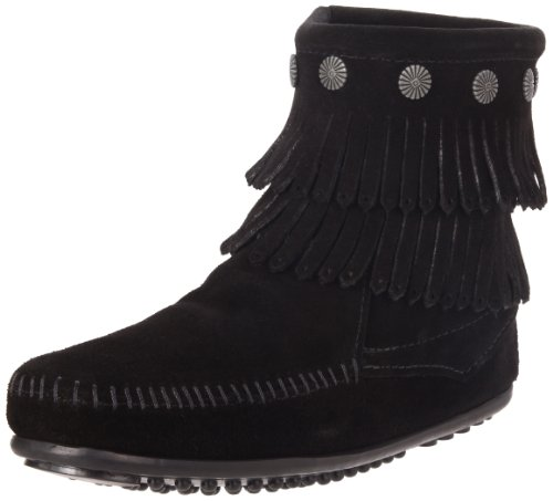 Minnetonka Double Fringe Side Zip Boot, Damen Kurzschaft Mokassin Boots, Schwarz (Black 9), 41 EU (Boot Mokassins Frauen)