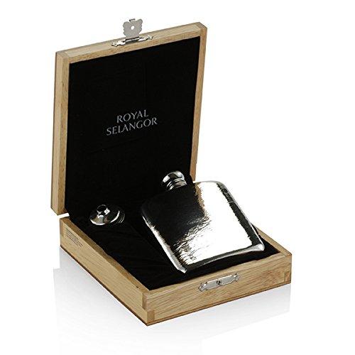 Royal Selangor Hand Fertig Geschenk-Kollektion Zinn Flachmann (130ml) in blonder Holzkiste