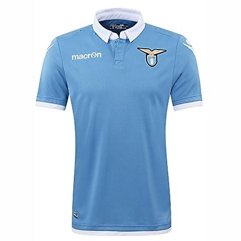S.S. Lazio Macron® Official Original Home Football Shirt (Short Sleeve) Classic without Sponsor Advert Unisex Merchandise Fan Jersey (Official Authentic Home Jersey) Italian Serie A Fan T-Shirt Season 2016/17, himmelblau-weiß, XL