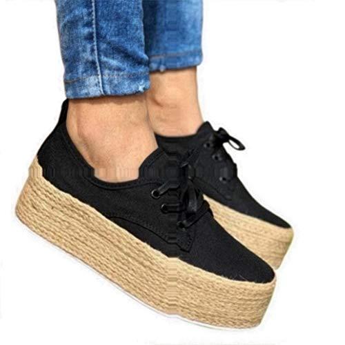 Sneaker Damen Plateau Espandrillos Mit Keilabsatz Sneaker Wedge 4cm Flache Atmungsaktiv Freizeit Schuhe Schwarz 37 -
