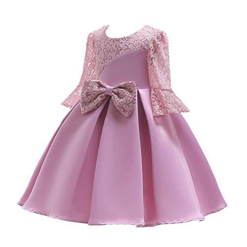 Zhongjing Blume Mädchen Kleider Spitze Bogen Prinzessin Kleid für Kinder mit Ärmeln, Cocktailparty Sommer