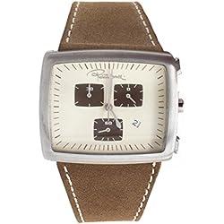 Roberto Cavalli Reloj auténtica piel marrón plata